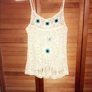 CROCHET SPAGHETTI STRAP TANK WITH BEAD/EMBROIDERED